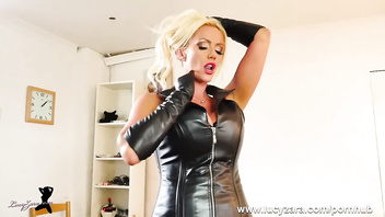 Leather Bitch blonde slut Lucy Zara finger fucking and teasing pussy