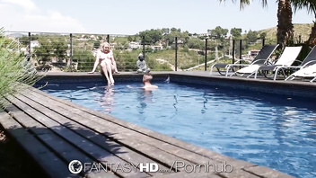 FANTASYHD Romantic Summer Villa Poolside Anal Fuck With Mouthful