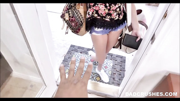 Tiny Young Blonde Teen Stepdaughter Shows Up At Stepdad's Doorstep POV