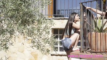 Lesbea Naughty skinny dipping Anya Krey and Sabrisse in neighbour's garden
