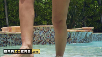 Brazzers - Latina Katana Kombat takes big dick by the pool