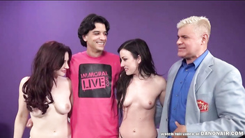 Jennifer White and Jessica Ryan have fun with a lucky fan