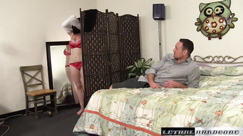 Bella catches stepbro with her panties so she sucks his cock