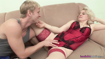 Mature In Red Hot Lingerie Fucking Her Young Stud