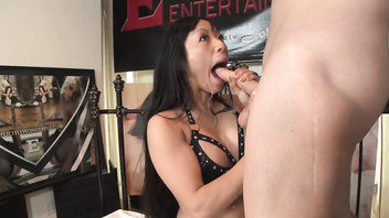 Asian babe Gaia loves to deep suck cock and then ride it wild