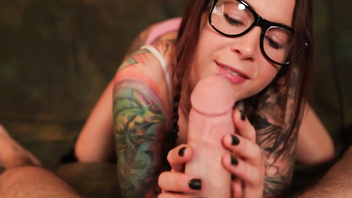 Felicity Feline School girl blow job with glasses and braids