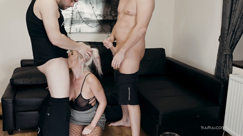 Blonde MILF Facefucked Pounded and Spitroasted to Extreme by a lucky FANS