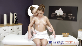 Massage Rooms Petite all natural European nymphs Lady Bug and Mila Fox