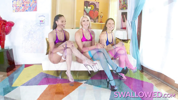 SWALLOWED Triple blowjob with Alexis, Chanel and Izzy