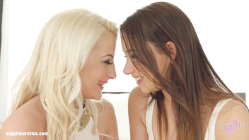 Chatting Lesbians from Sapphic Erotica Taylor Sands and Anastasia Blond go at it