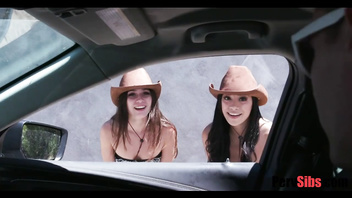 SISTERS hitch hike on stranger's dick- Gianna Gem & Savannah SiX