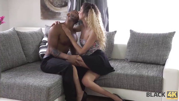 BLACK4K. Skinny babe Monique Woods seduces black owner of the house