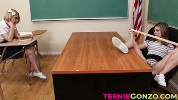 Naughty teen schoolgirl dildoing her teachers dripping pussy