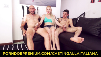CASTING ALLA ITALIANA - Beautiful Russian Lola Taylor takes two big Italian rods in hot MMF action