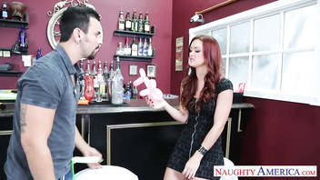 Superb redhead Karlie Montana sucking cock