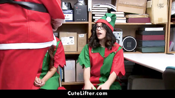Santa Fucked Elle Voneva and Harmony Wonder For Stealing Stuff | CuteLifter.com
