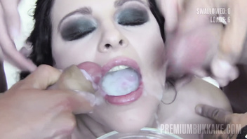 Premium Bukkake - Lola swallows 51 huge mouthful cumshots