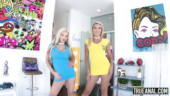 TRUE ANAL Blonde Barbie and Sophia ass fucking threeway