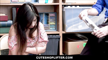 Cute Petite Teen Latina Employee Jasmine Gomez Caught Changing Price Tags Fucked By Boss For No Police