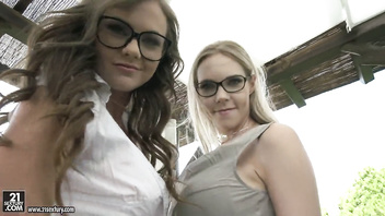 Two hot girl in glasses