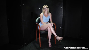 Blonde gloryhole cocksucker eats so much cum