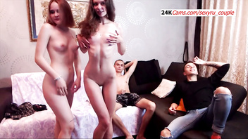 Sexy russian foursome sex