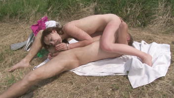 Young czech couple make horny fuck outdoor