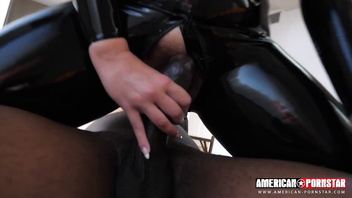 Watch angel wicky as she's slides up and down and gets stretched out by a big black cock while covered in latex!!