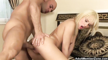 Flexible blue angel takes a huge cock