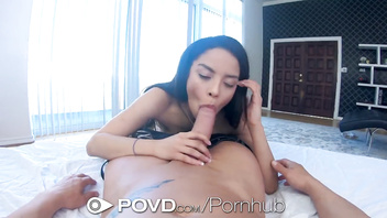 Povd wet pussy brunette caught playing hookey