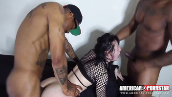 Goth charlotte double anal- tight asshole split by multiple cocks!