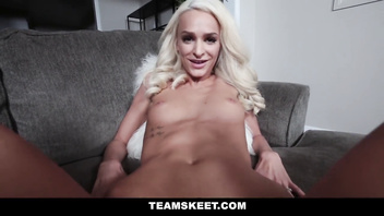 Teamskeet - sexy blond teen with small tits plays with herself joi