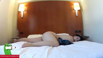 Blowjob on bed in a hotel room. RAF090
