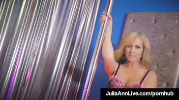 World Famous Milf Julia Ann Rides Stripper Pole & Rubs Cunt!