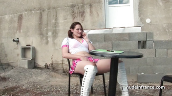 Redhead amateur student hard sodomized in threeway outdoor