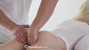 PornPros Oiled down blonde massage fuck and facial with Elsa Jean