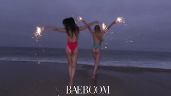 BAEB Lesbians 4th of july clam bumping with Chloe Scott and Whitney Wright