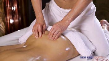 Massage Rooms Oil soaked Euro blonde Helena Moeller takes cock doggystyle