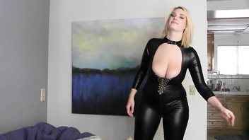 Jacking it for Siri in a black catsuit. JerkOffInstructions.com