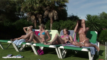 Sunbaked Orgy lesbian group with Liz Sharon Paulina and Dorina from Sapphic Erot