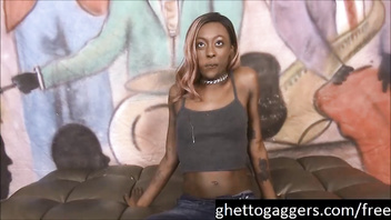 Pretty ebony Zo Lala puke fest while throating 2 dicks at ghetto gaggers