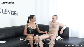 Lost newcomer had no chance to make his cock hard for more than few seconds