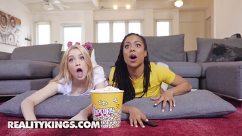 Reality Kings - Ebony and white fit bbfs share cock at movie night
