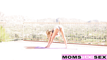 MomsTeachSex - Hot Yoga Step Mom Fucks Step Son And Teen GF