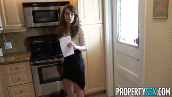 PropertySex - Hot real estate agent flirts with client and fucks his big cock