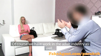 FakeAgent Blonde babe sucks and fucks in casting