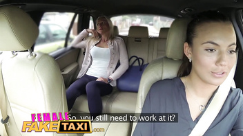 Feamle Fake Taxi Two sexy ladies have backseat fun