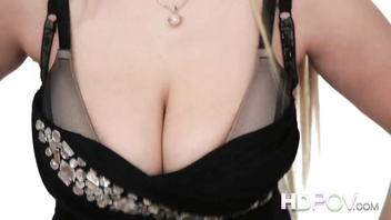 HDPOV Blonde with massive tits take your cum over her boobs