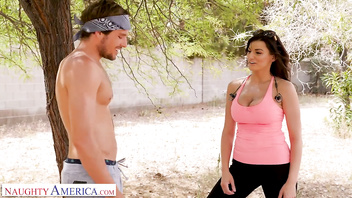 Naughty America - MILF Becky Bandini fucks a young dude at the park