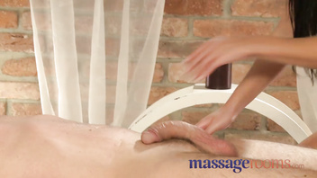 Massage Rooms Sexy young girl gets big tits oiled with cum